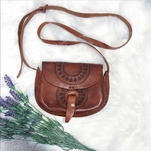 Handmade Tooled Leather Purse Bag Crossbody Brown